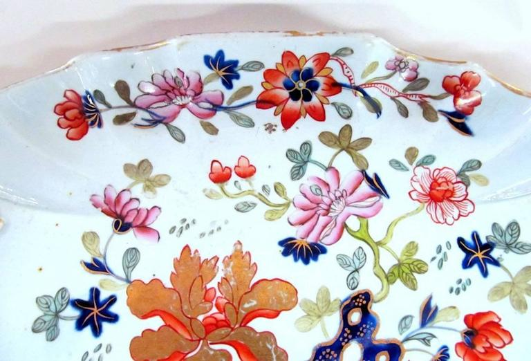 Rare early English period Mason's Ironstone Imari dessert dish.  As Illustrated in G. Godden's Mason's Ironstone as one of the earliest examples of Mason's Ironstone and one of its earliest impressed marks.