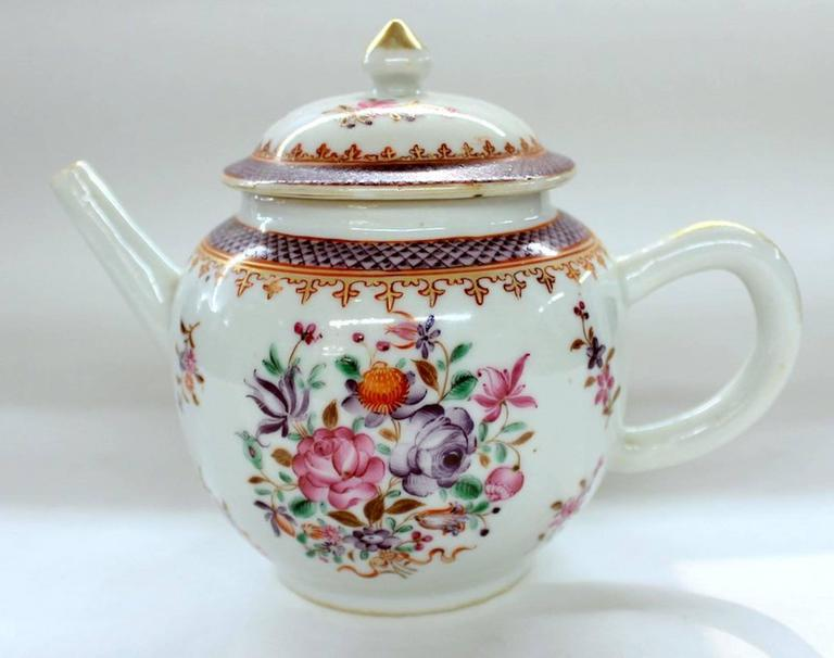 Superb antique Chinese export porcelain famille rose decor globular teapot.