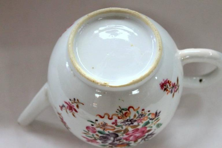 Antique Chinese Export Porcelain Famille Rose Decor Globular Teapot For Sale 6