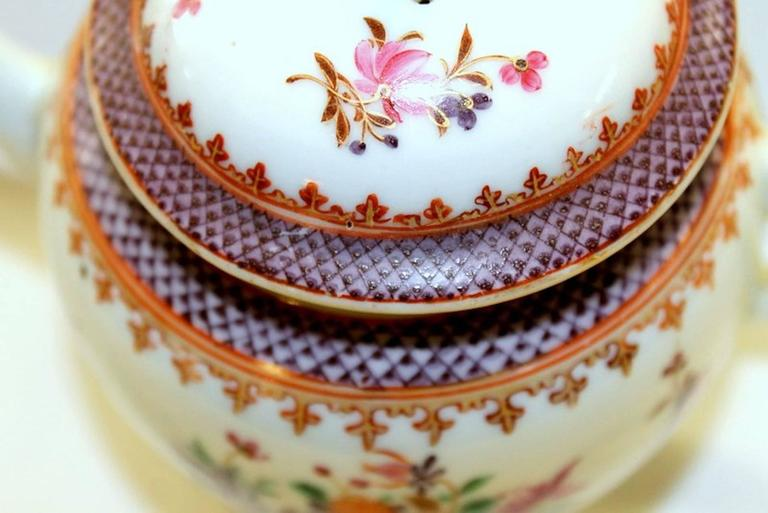 18th Century Antique Chinese Export Porcelain Famille Rose Decor Globular Teapot For Sale