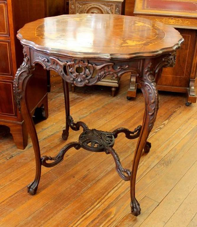 Fabulous Quality Antique English Hand Carved Mahogany And Exquisite  Marquetry Inlaid Exotic Woods Centre Table