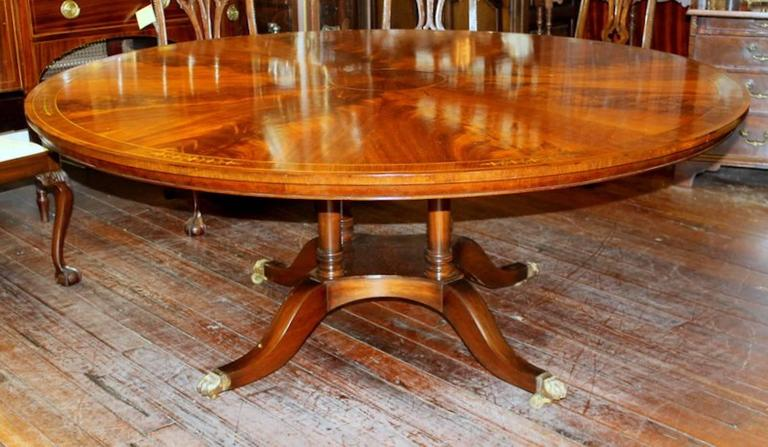 Inlay Old English Bench Made Regency Style Brass Inlaid Flame Mahogany Dining Table For Sale