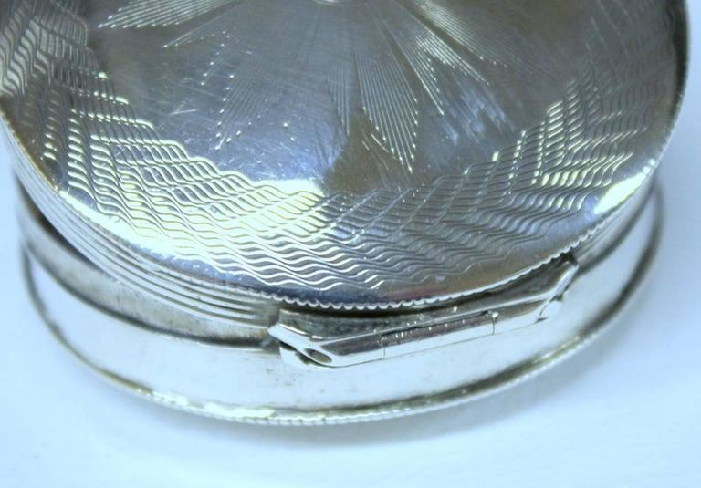 Antique Dutch Hand Engraved 833 Fine Silver Large Round Snuff Box For Sale 3
