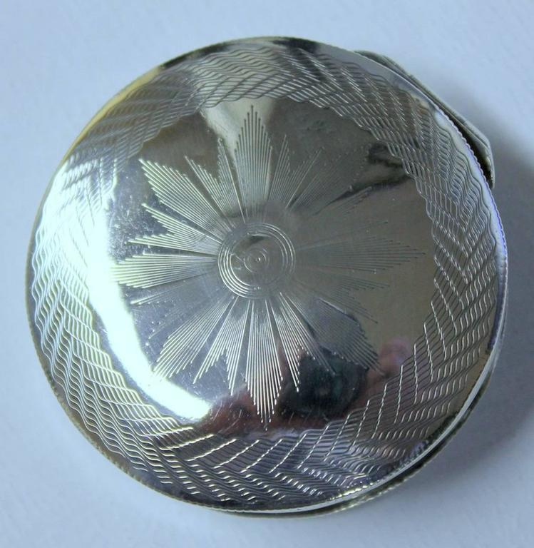 Antique Dutch hand engraved 833 fine silver round snuff box Please note hand engraved design top and bottom. Tax, assay and date marks on edge of lip and inside base. Date mark for 1836.