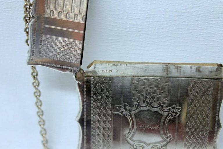 Antique American Coin Silver Hand Engraved Card Case with Chatelaine For Sale 4