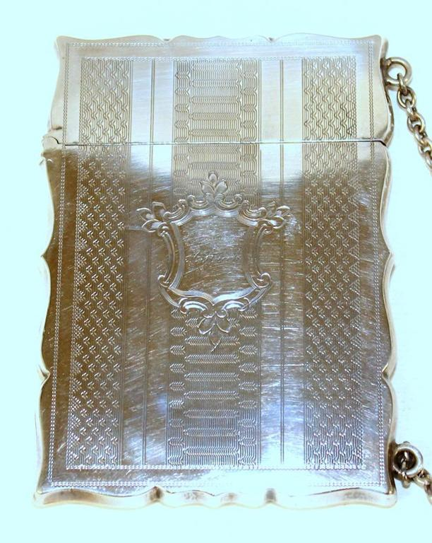 Antique American coin silver hand engraved chatelaine card case with original chatelaine (chain). Marked