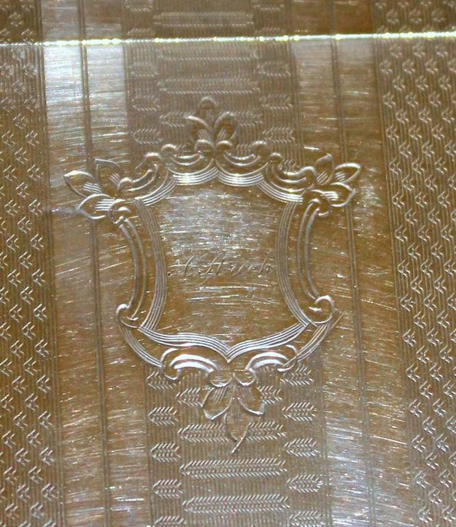 Antique American Coin Silver Hand Engraved Card Case with Chatelaine For Sale 3