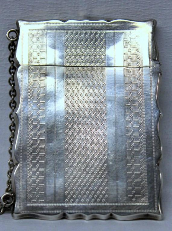 Antique American Coin Silver Hand Engraved Card Case with Chatelaine In Excellent Condition For Sale In Charleston, SC