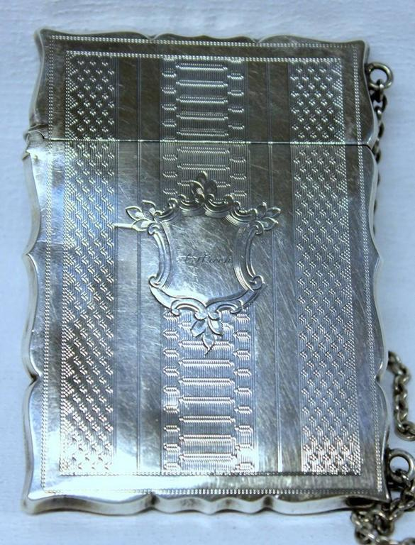 Antique American Coin Silver Hand Engraved Card Case with Chatelaine For Sale 1