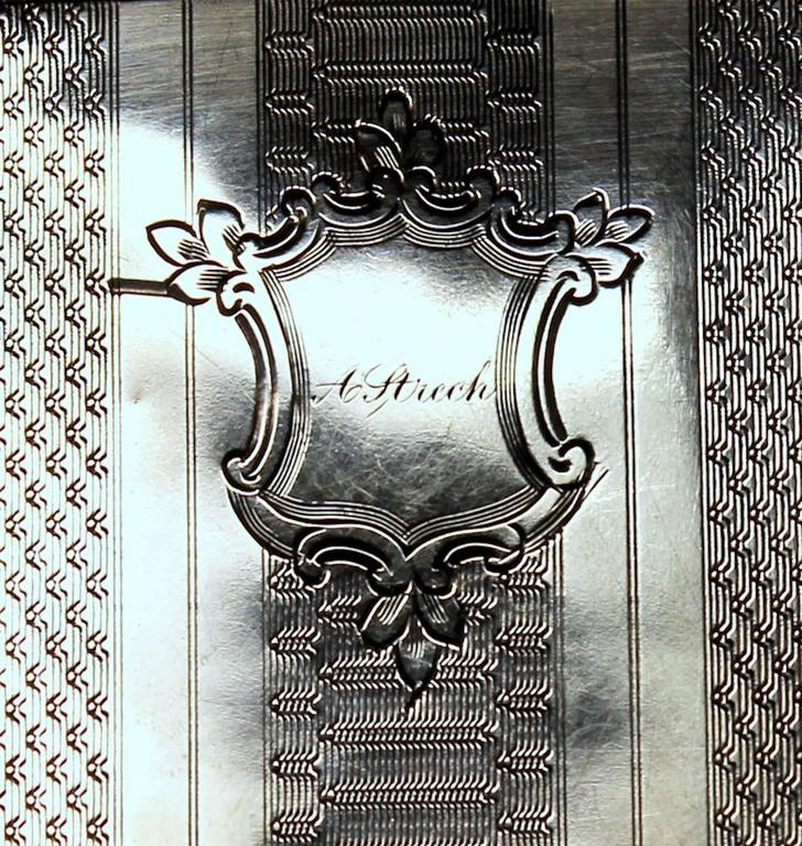 19th Century Antique American Coin Silver Hand Engraved Card Case with Chatelaine For Sale