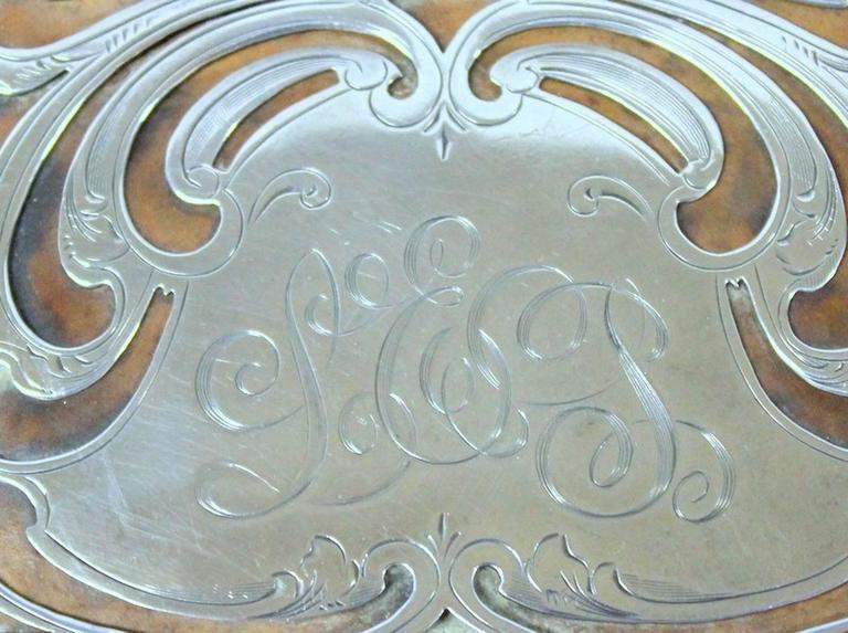 Antique American Hand Pierced and Engraved Sterling Card Case or Coin Purse For Sale 1