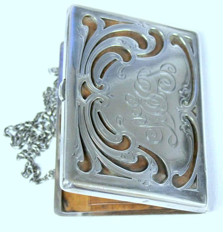 Sterling Silver Antique American Hand Pierced and Engraved Sterling Card Case or Coin Purse For Sale