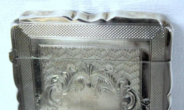 Antique American Hand Engraved .900 Fine Coin Silver Albert Coles Card Case In Excellent Condition For Sale In Charleston, SC