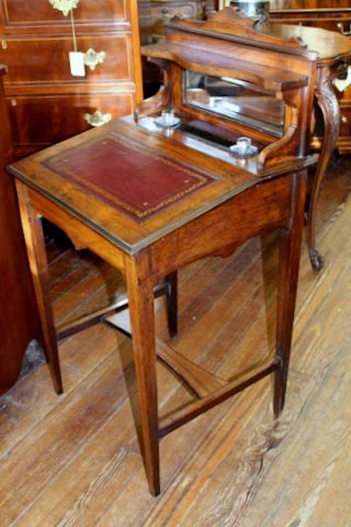 Rare antique English inlaid rosewood child's or ladies writing desk with  lift-up sloped lid - Antique English Inlaid Rosewood Child's Or Ladies Diminutive Writing