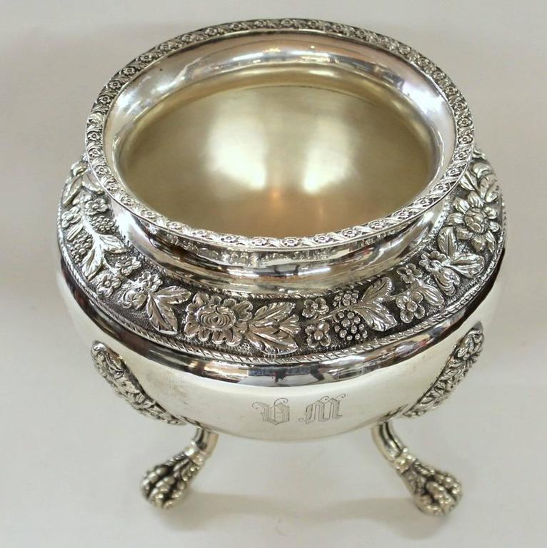 19th Century Antique American Coin Silver Rococo Style Four-Piece Tea Set by Andrew De Milt For Sale