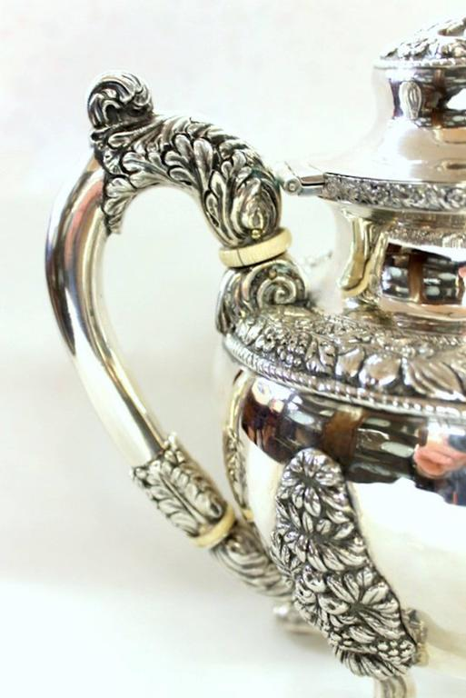 Antique American Coin Silver Rococo Style Four-Piece Tea Set by Andrew De Milt For Sale 5