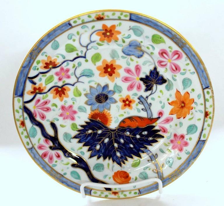 George III Set of Four Antique English Coalport Porcelain Luncheon or Dessert Plates For Sale