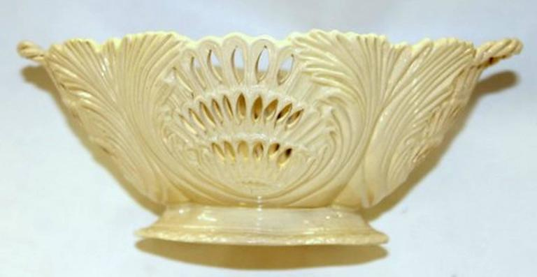 Rare antique English Yorkshire or Staffordshire creamware pierced basket with intricate reticulated body. Lovely color no damage or repairs.