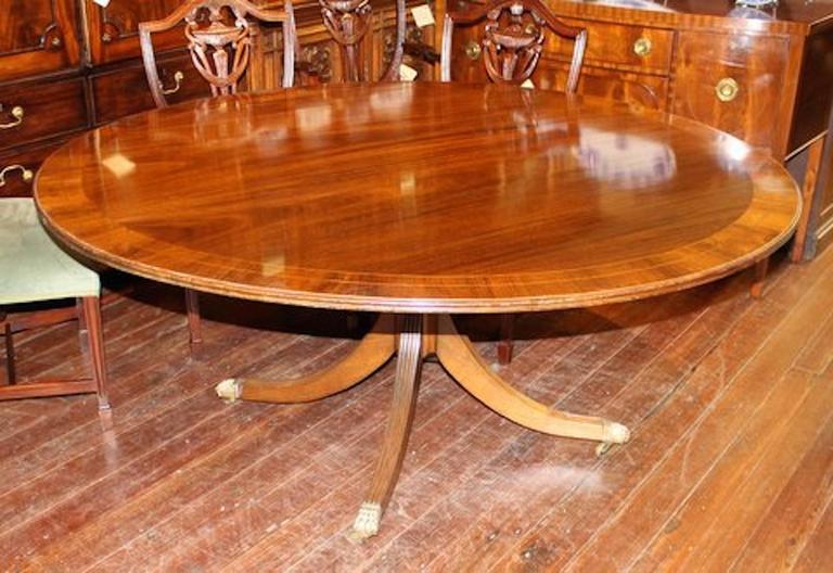 Old English Sheraton Style Inlaid Figured Solid Mahogany Circular Dining Table 2