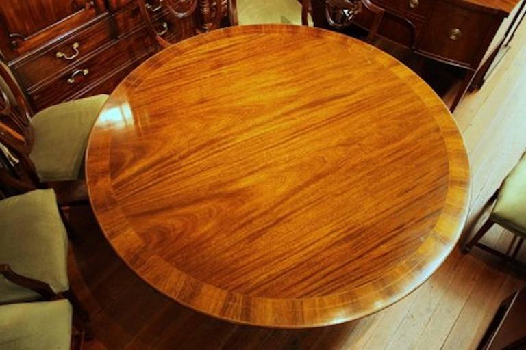 Old English Sheraton Style Inlaid Figured Solid Mahogany Circular Dining Table 3