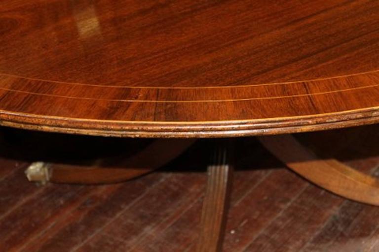 Old English Sheraton Style Inlaid Figured Solid Mahogany Circular Dining Table 5