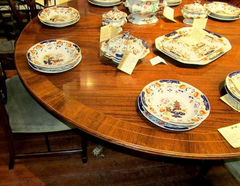 Old English Sheraton Style Inlaid Figured Solid Mahogany Circular Dining Table 8