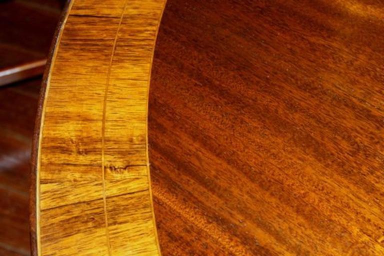 Old English Sheraton Style Inlaid Figured Solid Mahogany Circular Dining Table 6