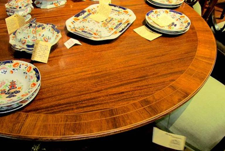 Old English Sheraton Style Inlaid Figured Solid Mahogany Circular Dining Table For Sale 3