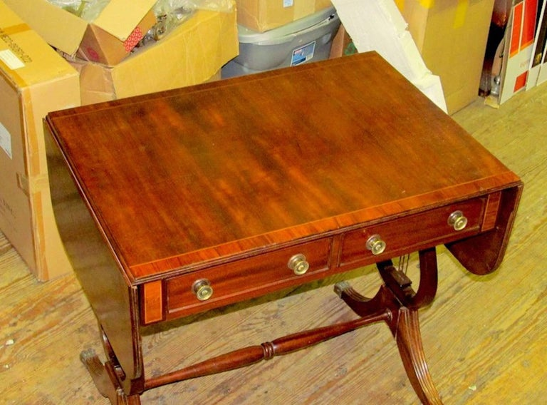 19th Century Antique English George IV Inlaid Mahogany Regency Style Drop-Leaf Sofa Table For Sale