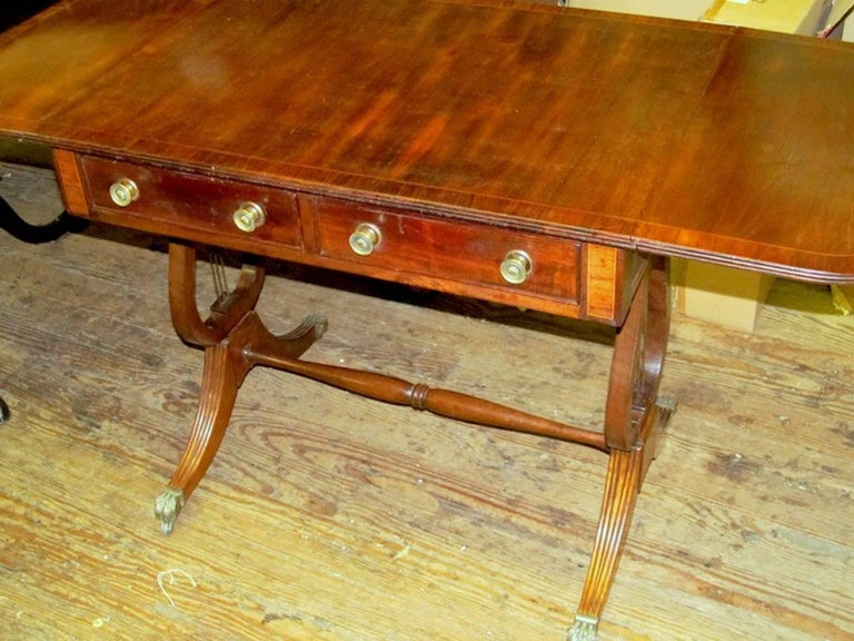 Antique English George IV Inlaid Mahogany Regency Style Drop-Leaf Sofa Table For Sale 1