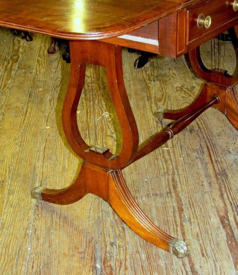 Antique English George IV Inlaid Mahogany Regency Style Drop-Leaf Sofa Table For Sale 3