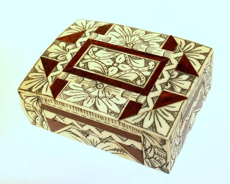 Old Anglo-Indian Carved Bone, Rosewood and Mahogany Hinged Box In Excellent Condition For Sale In Charleston, SC
