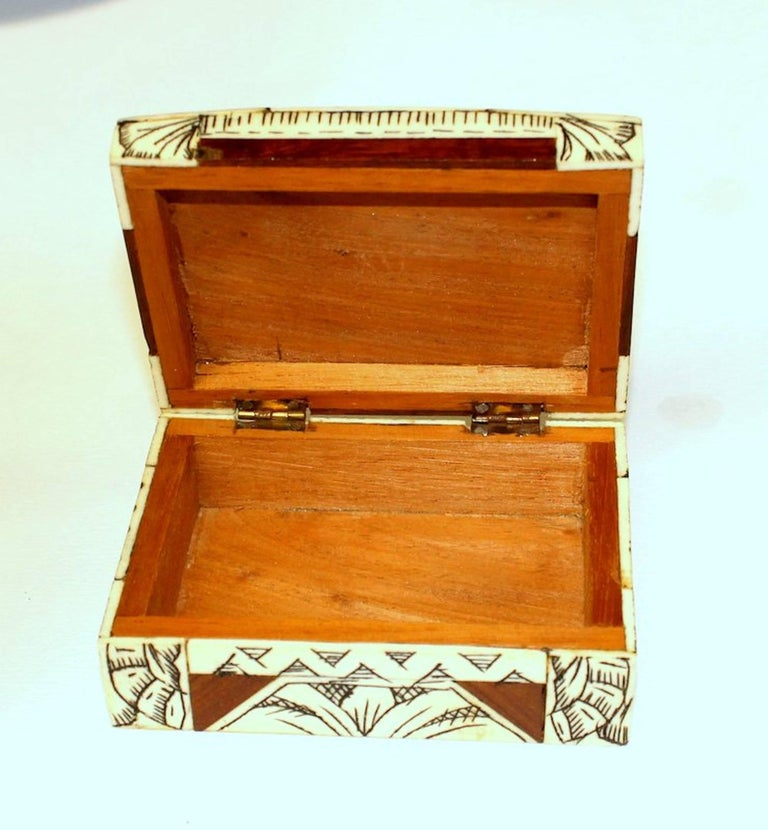 Old Anglo-Indian Carved Bone, Rosewood and Mahogany Hinged Box For Sale 4
