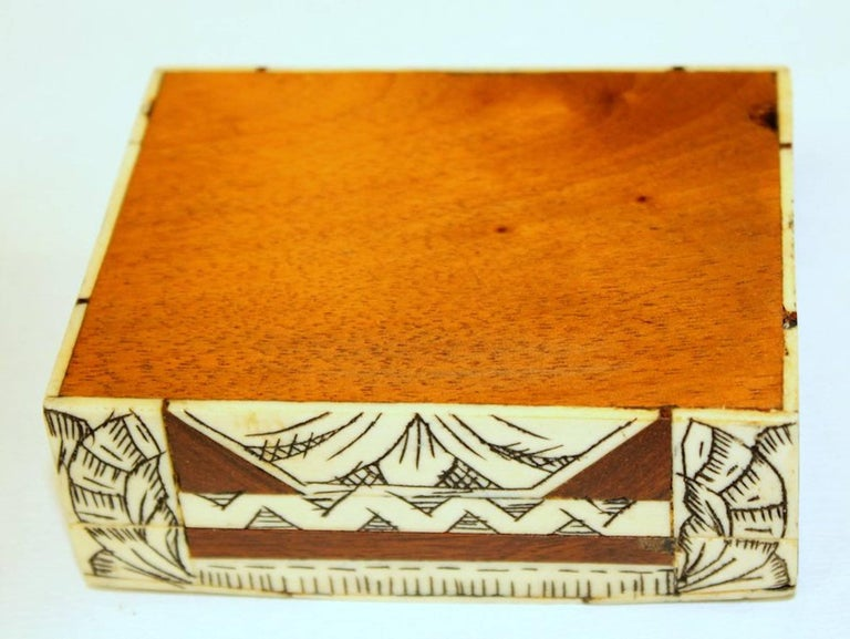 Old Anglo-Indian Carved Bone, Rosewood and Mahogany Hinged Box For Sale 5