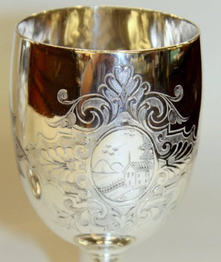 19th Century Pair of Antique American Silver Plate Goblets, Simpson, Hall and Miller, CT For Sale