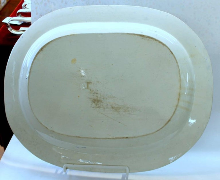 Antique English Very Large Staffordshire B & W Transferware Scenic Platter For Sale 2