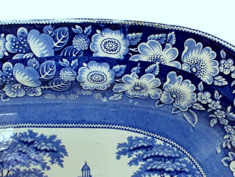Antique English Very Large Staffordshire B & W Transferware Scenic Platter In Good Condition For Sale In Charleston, SC