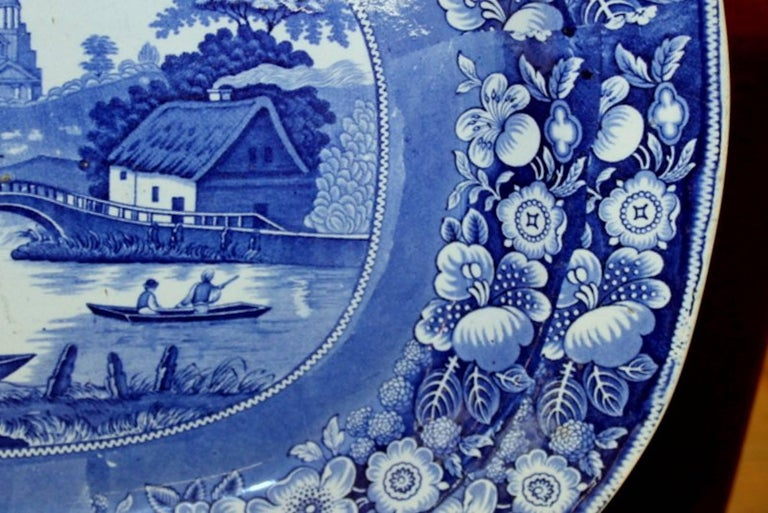 Earthenware Antique English Very Large Staffordshire B & W Transferware Scenic Platter For Sale