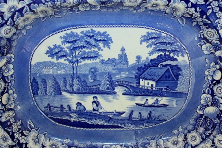 19th Century Antique English Very Large Staffordshire B & W Transferware Scenic Platter For Sale