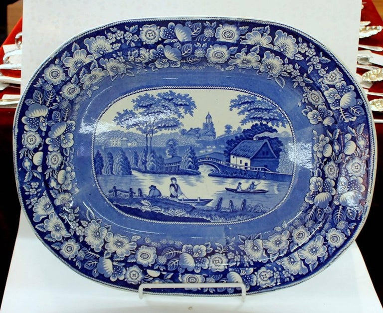 Exceptional antique English Staffordshire Earthenware B & W transferware very large platter with unidentifiable impressed maker's mark on rear.   Unidentifiable