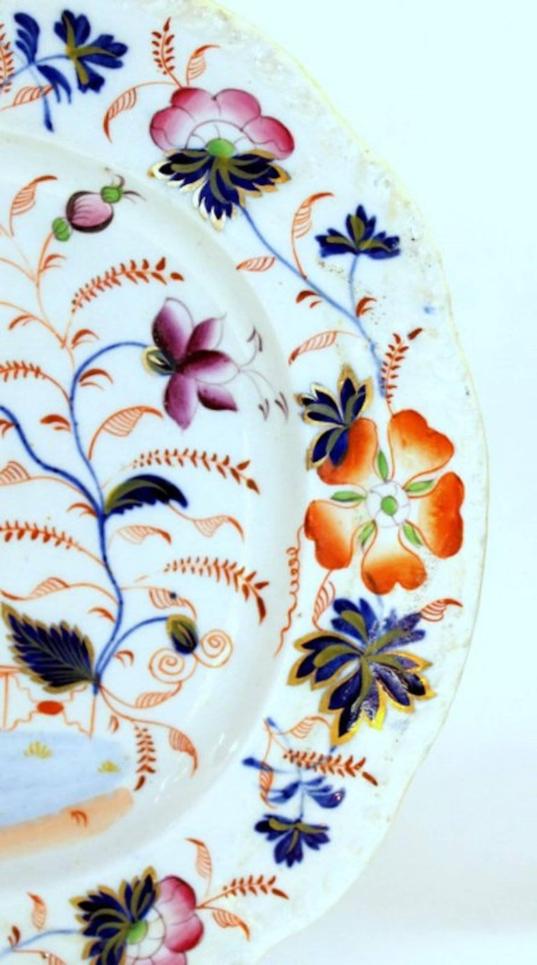 Antique English Hand-Painted Ridgway Ironstone Imari Decor Platter In Excellent Condition For Sale In Charleston, SC