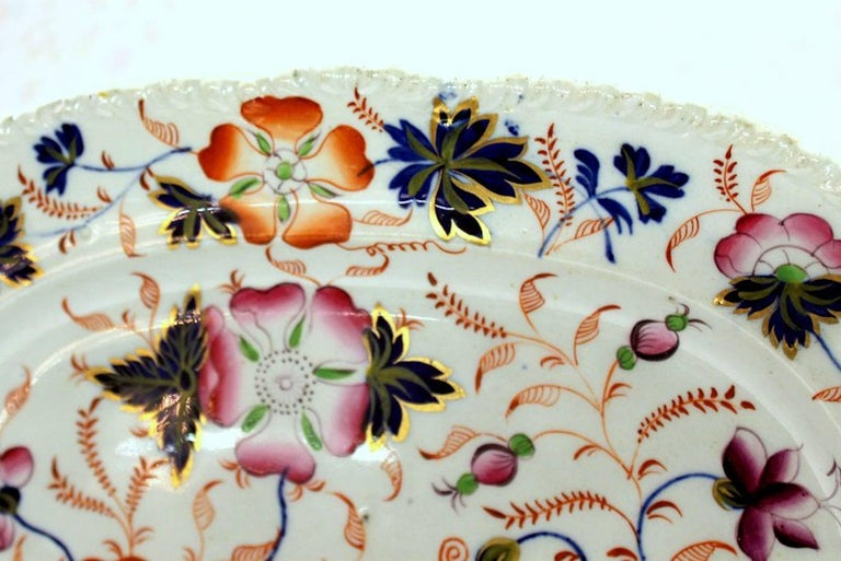 Fine antique English hand-painted ironstone Imari decor platter with extraordinarily colorful