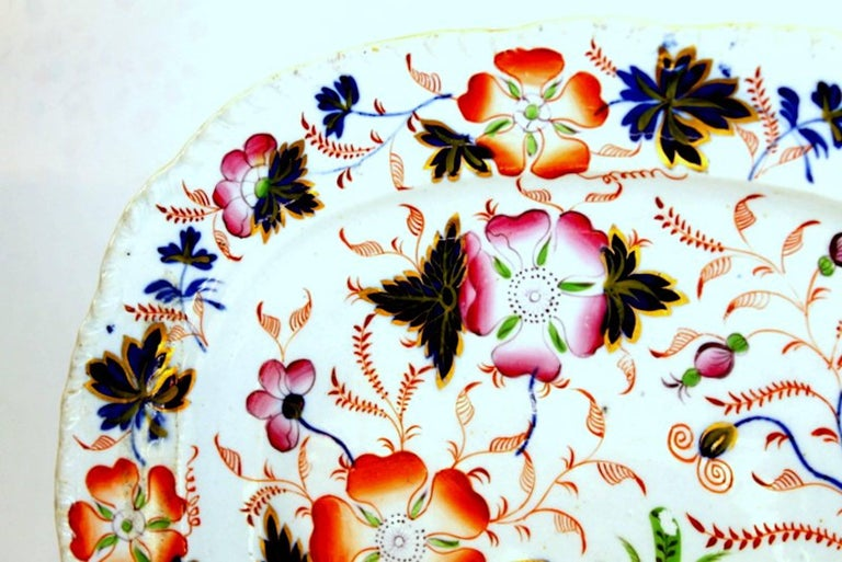 19th Century Antique English Hand-Painted Ridgway Ironstone Imari Decor Platter For Sale