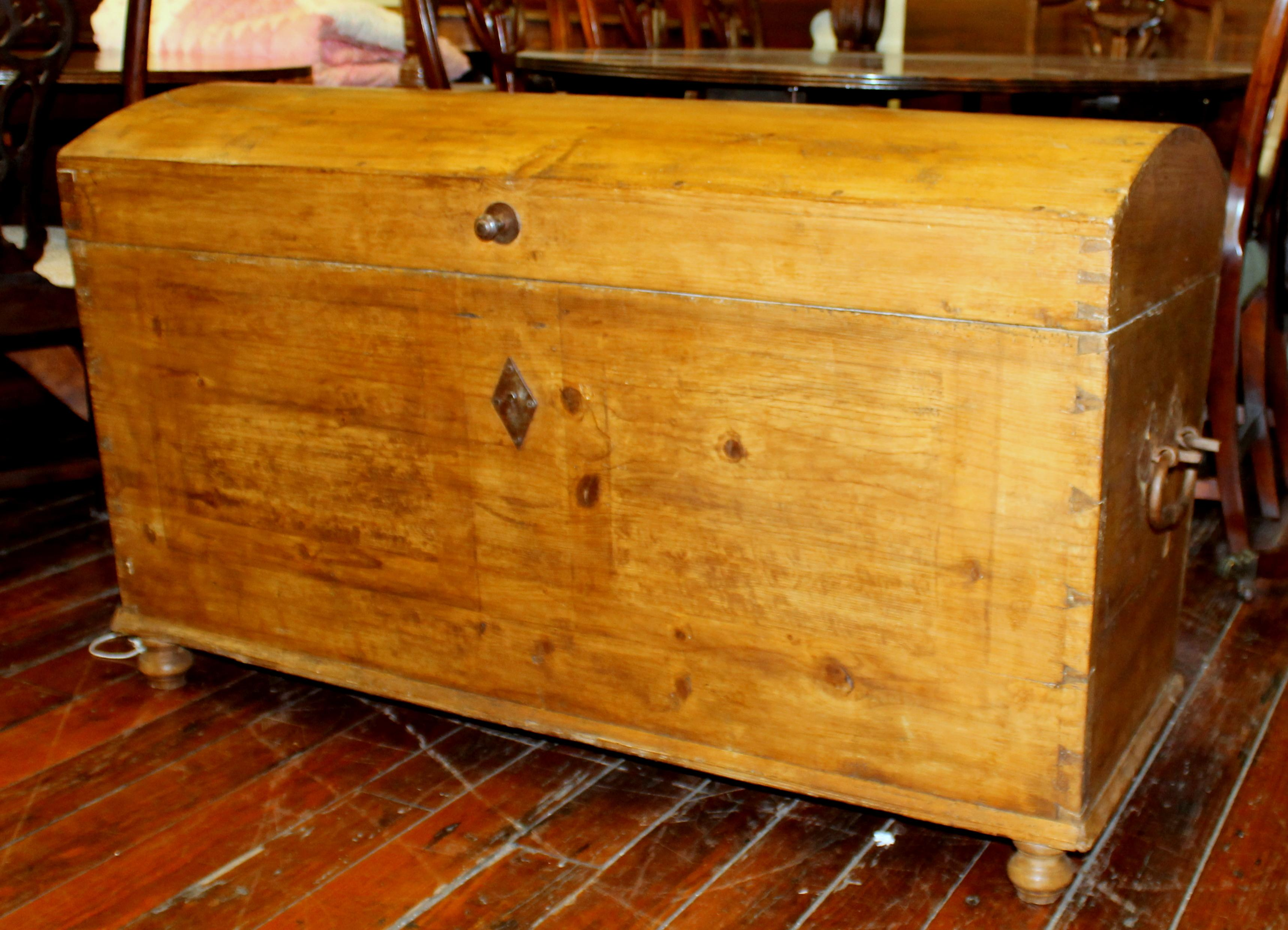 Very Rare Antique Scandinavian Pine Very Larger Deaconu0027s Dome Top Trunk  With Fitted Interior Hinged