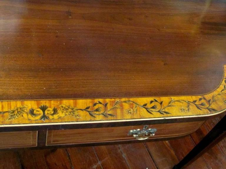 19th Century English Geo IV Marquetry Inlaid Mahogany Hepplewhite Huntboard or Server For Sale
