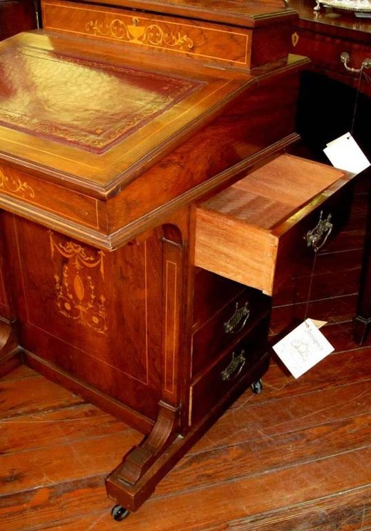 Adam Style English Marquetry Inlaid Rosewood Davenport or Ship Captain's Desk For Sale