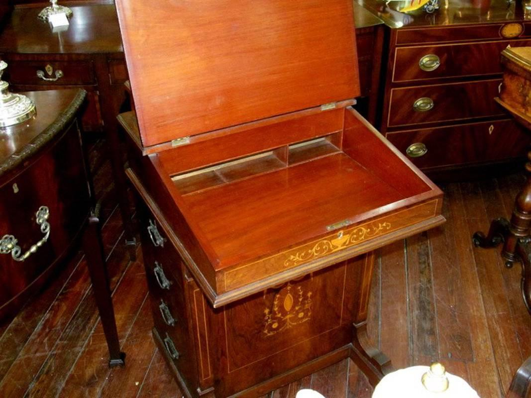 English Marquetry Inlaid Rosewood Davenport Or Ship