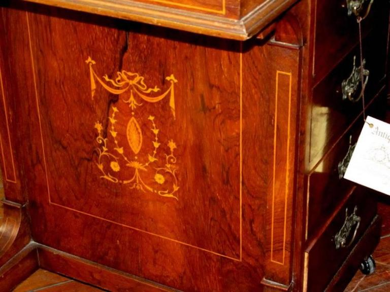 English Marquetry Inlaid Rosewood Davenport or Ship Captain's Desk For Sale 1