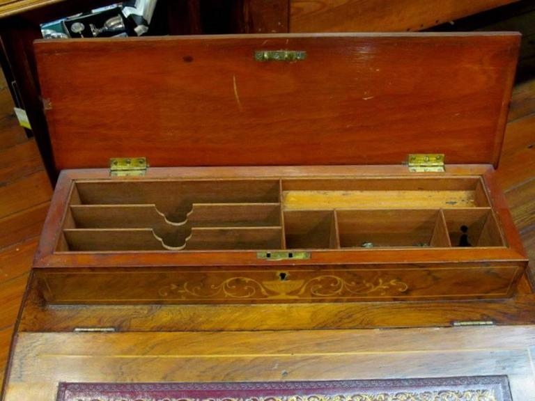 English Marquetry Inlaid Rosewood Davenport or Ship Captain's Desk For Sale 3