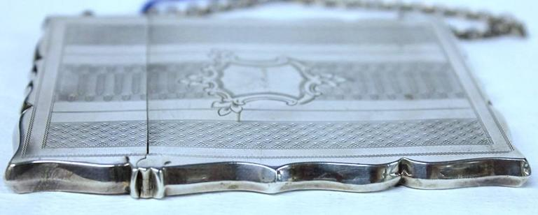 Antique American Coin Silver Hand Engraved Card Case with Chatelaine For Sale 2